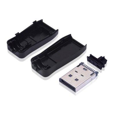 DP公头焊线式黑胶带卡勾-三件式