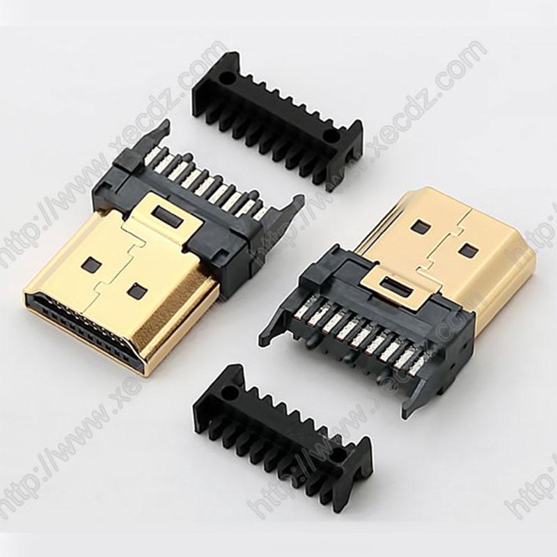 HDMI-19P-M焊线带分线槽
