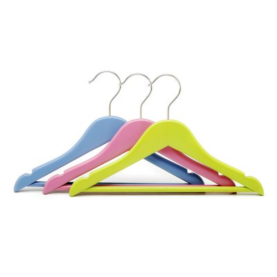 Colorful wholesale kids wooden clothes hangers