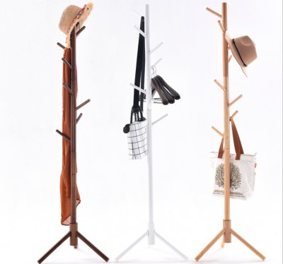 Tree-shaped cross-hook coat rack assessed coat hanger stand Wooden Coat Rack
