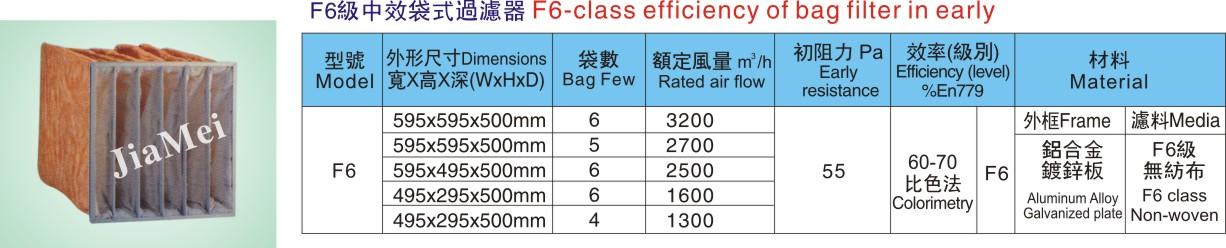F6 级中效袋式过滤器