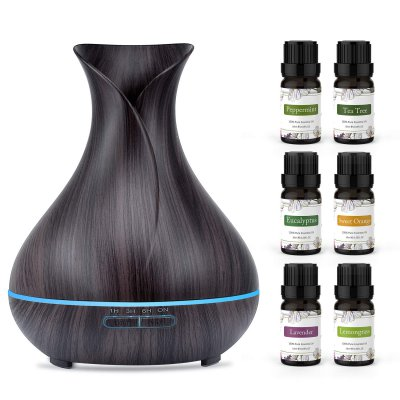 ASAKUKI 400ml Essential Oil Diffuser with 6 Bottles 10ml Pure Natural Essential Oils