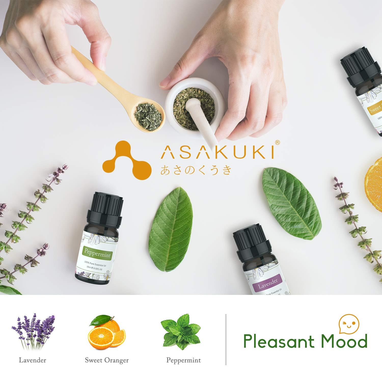 ASAKUKI 400ml Essential Oil Diffuser with 6 Bottles 10ml Pure Natural Essential Oils