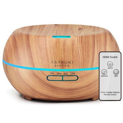 ASAKUKI 500ml Essential Oil Diffuser with Remote Control, Waterless Safety Switch & 14 LED Colors