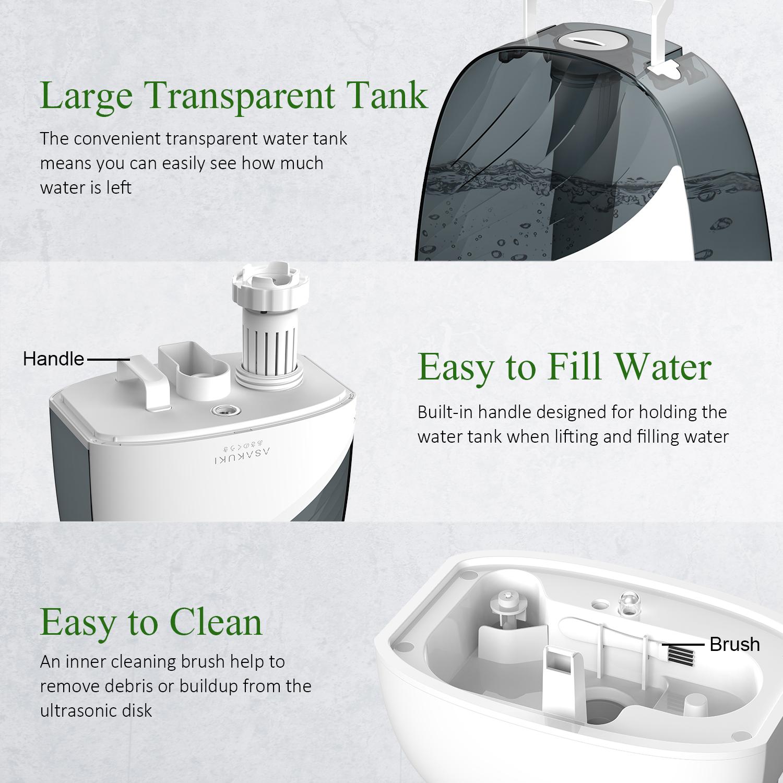 ASAKUKI Ultrasonic Cool Mist Humidifier,6L Premium Quiet Air Humidifier