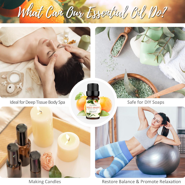 ASAKUKI Sweet Orange Essential Oil 10ml, 100% Pure Natural Essential Oils