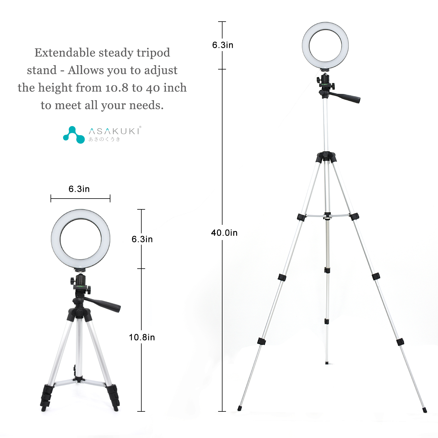 ASAKUKI 6.3 inches Ring Light with Tripod Stand and Phone Holder