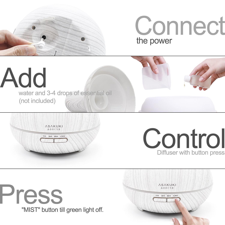 ASAKUKI 400ML Premium, Essential Oil Diffuser, Quiet 5-in-1 Humidifier