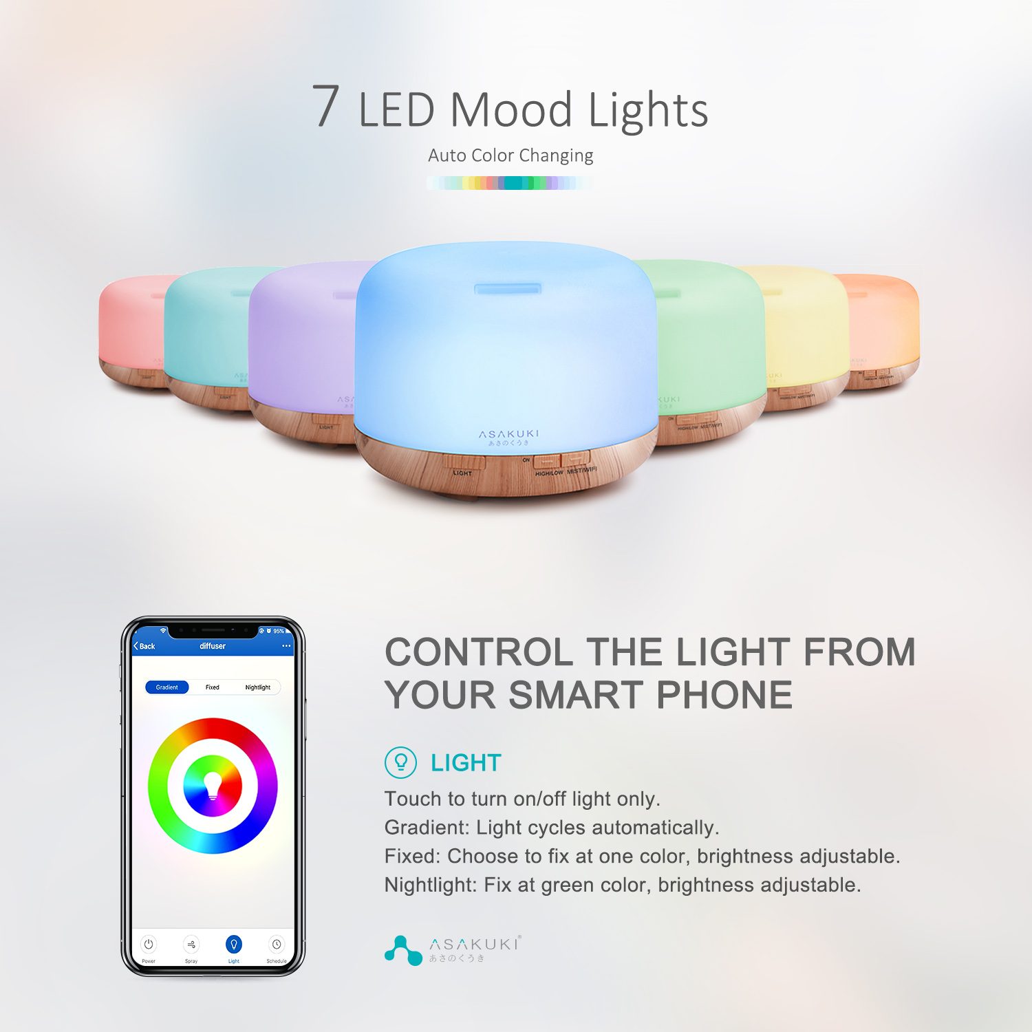 ASAKUKI Smart Wi-Fi Essential Oil Diffuser, App Control Compatible with Alexa
