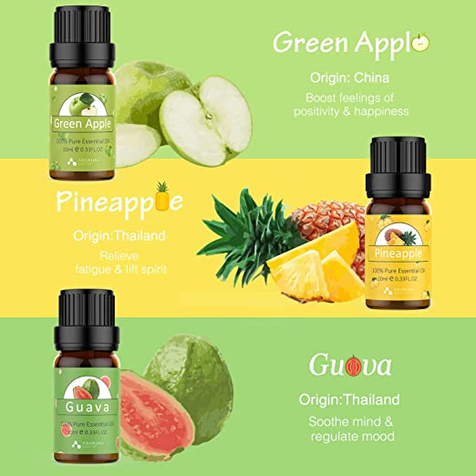 ASAKUKI Fruity Essential Oil Set of 6 Aromatherapy Oils for Diffusers