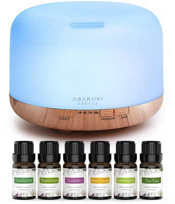 ASAKUKI Essential Oil Diffuser with Essential Oils Set, 500ml diffuser and  Top 6 Essential Oils
