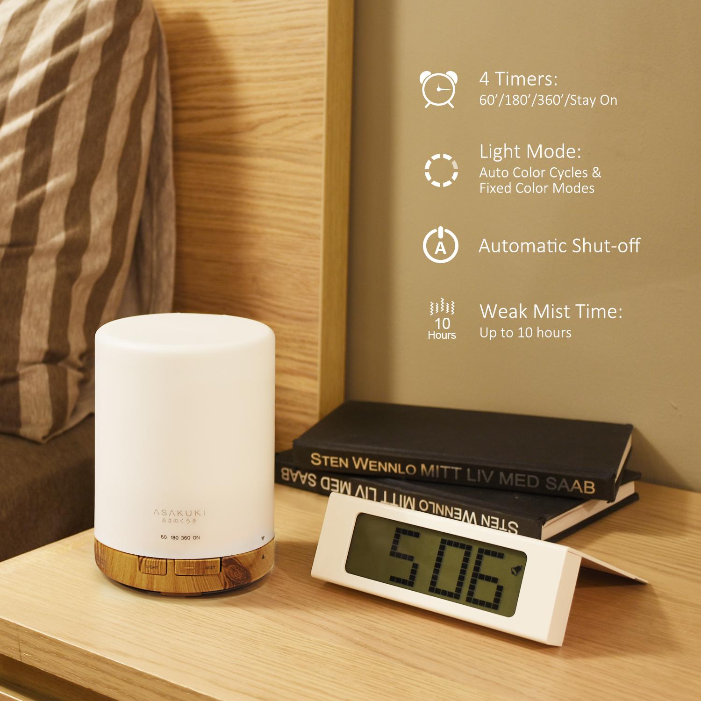 ASAKUKI 300ML Essential Oil Diffuser, Quiet 5-in-1 Premium Humidifier