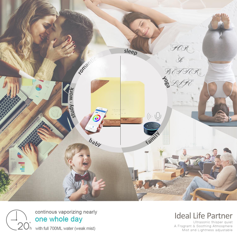 ASAKUKI Smart Wi-Fi Essential Oil Diffuser- App Control Compatible with Alexa, 700ml Humidifier