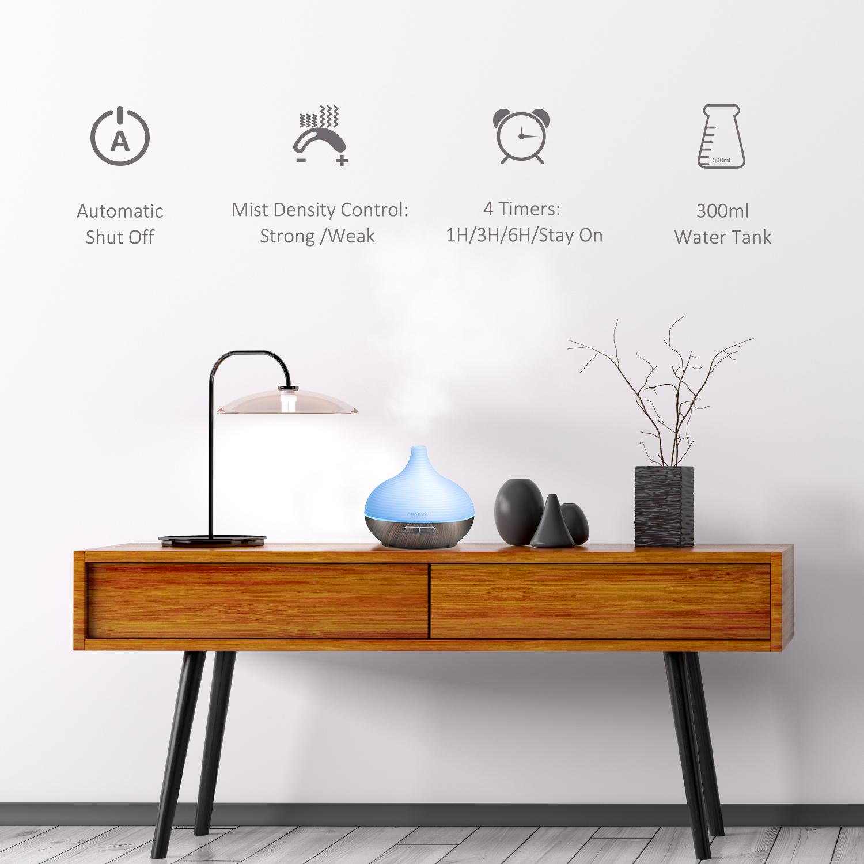 ASAKUKI 300ML Premium, Essential Oil Diffuser, Quiet 5-In-1 Humidifier