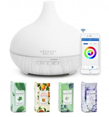 ASAKUKI WiFi Essential Oil Diffuser with Essential Oils, 300ml Diffuser & Top 4 Essential Oils