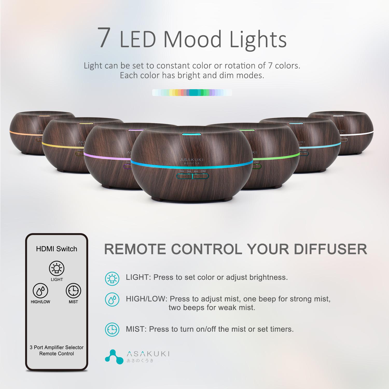ASAKUKI Essential Oil Diffuser with Remote Control, 500ml Cool Mist Humidifier