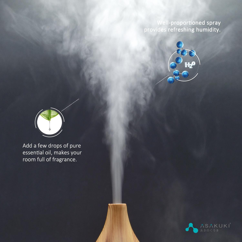 ASAKUKI 400ml Essential Oil Diffuser, Aromatherapy Oil Diffuser with Cool Mist