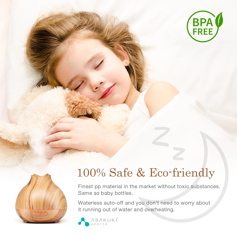 ASAKUKI Essential Oil Diffuser 400ml, Aromatherapy Fragrant Oil Vaporizer Humidifier with Fine Mist
