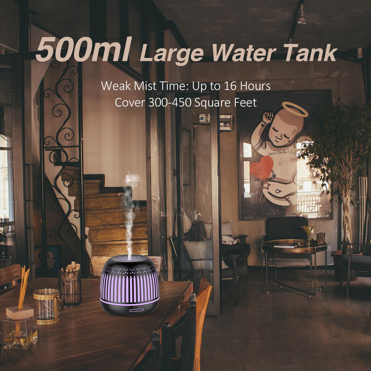 ASAKUKI 500ml Metal Essential Oil Diffuser