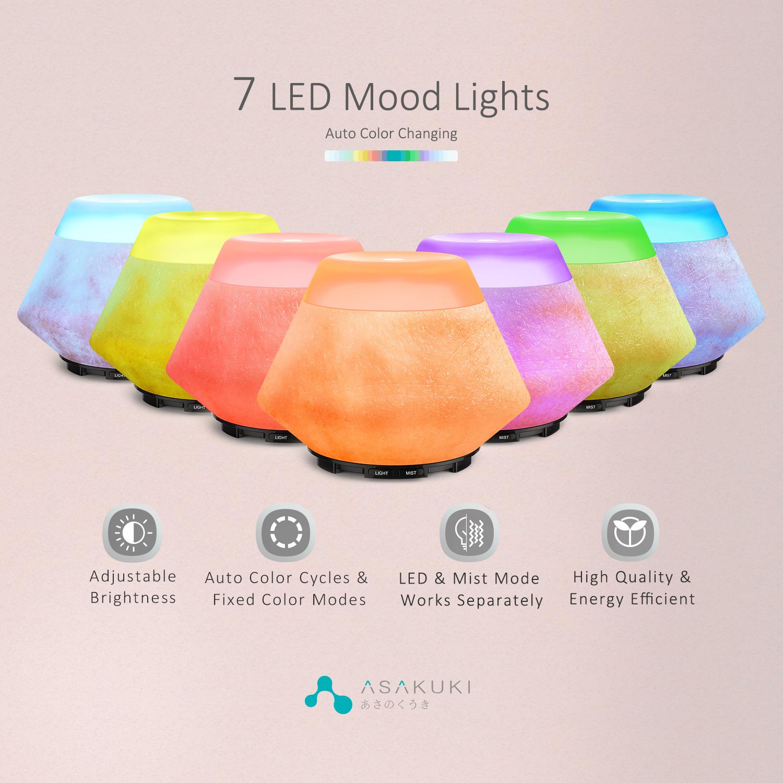 ASAKUKI 200ml Premium, Essential Oil Diffuse Auto-Off Safety Switch, 7 LED Light Colors