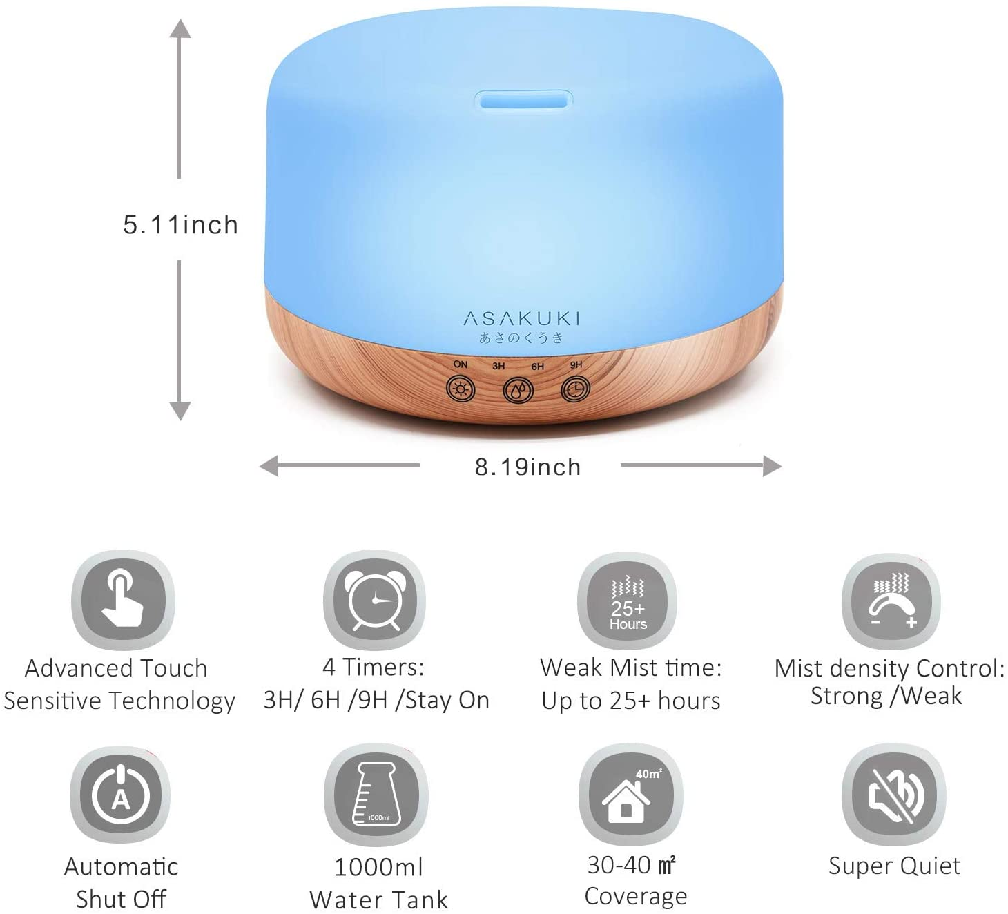 ASAKUKI 1000ml Premium - Essential Oil Diffuser Timer and Auto-Off Safety Switch, 7 LED Light Colors