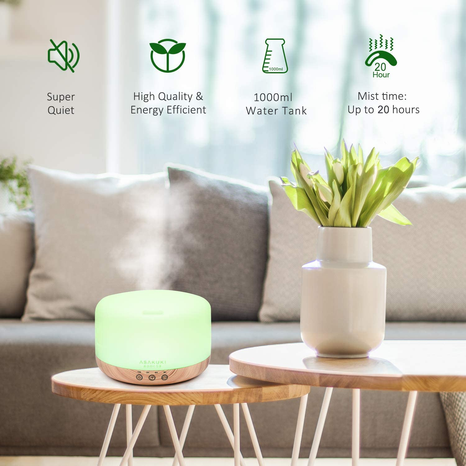 ASAKUKI 1000ML Large Remote Control Essential Oil Diffuser for Aromatherapy