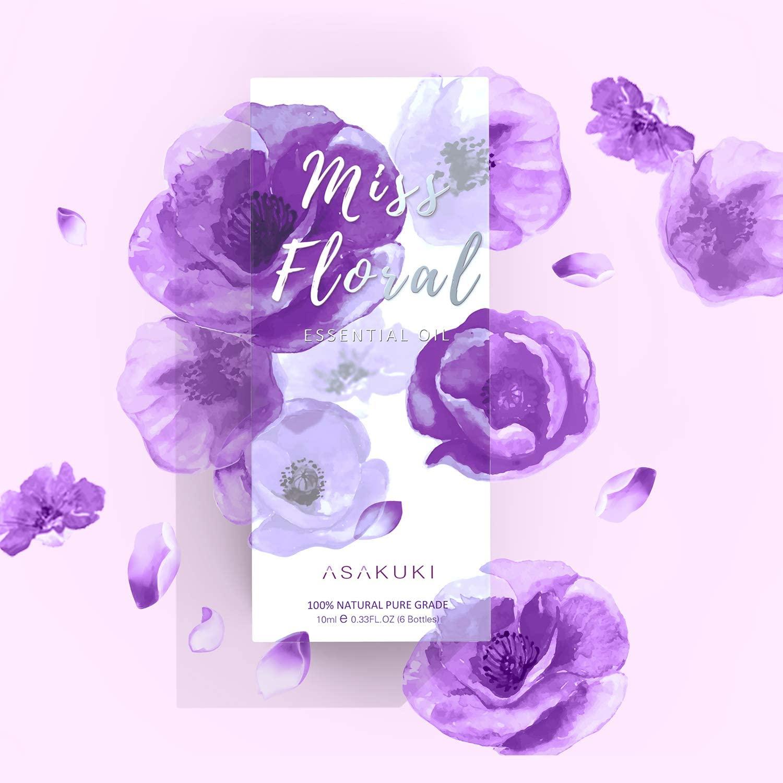 ASAKUKI Floral Essential Oils Gift Set, Aromatherapy Diffuser Oils Fragrance