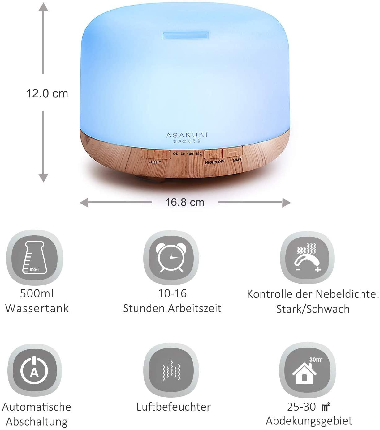ASAKUKI 500ml Aroma Diffuser, Ultraschall Aromatherapie Diffuser für Ätherische Öle