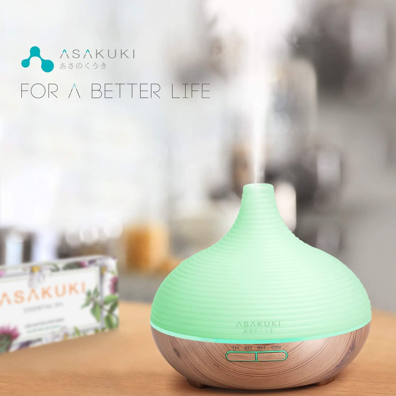 ASAKUKI 300ml Aroma Diffuser für Duftöle, Premium Ultraschall Luftbefeuchter
