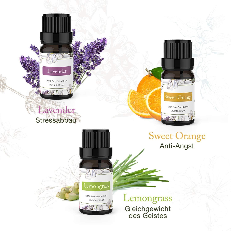 ASAKUKI Ätherische Öle Set 6 x 10ml, Reine Natürlicher Lavendel