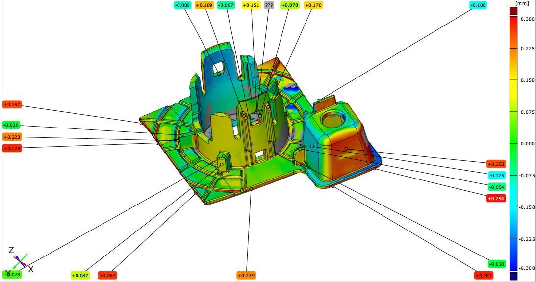 汽车零件注塑成型后进行CAV检测-利用蓝光高精3D扫描设备GOM ATOS扫描