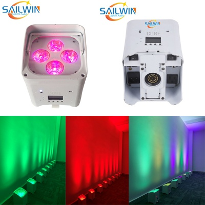 White Case 4X18W DJ Battery Powered APP WIFI LED Stage Uplight Par Can