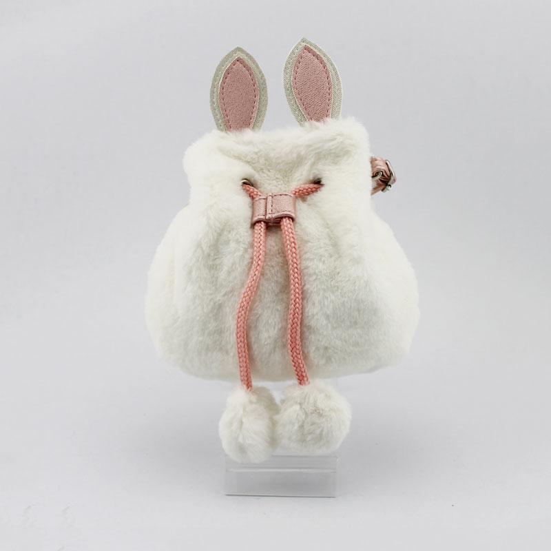 兔子毛毛料童装斜挂包
