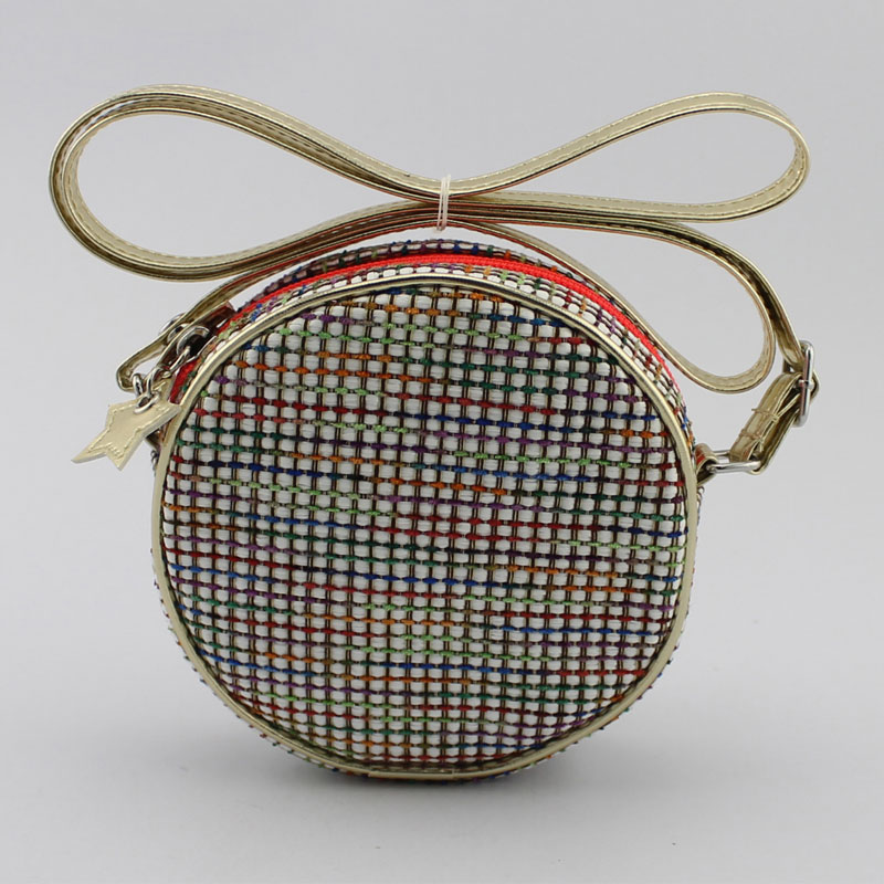 彩色编织料童装斜挂包