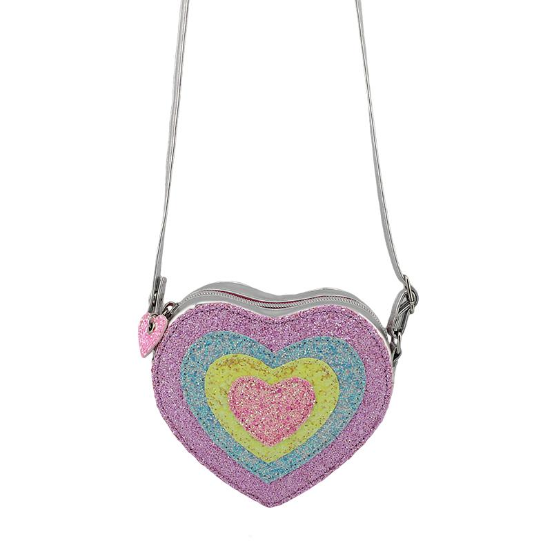 童包,斜挎包,彩色心形斜挎包