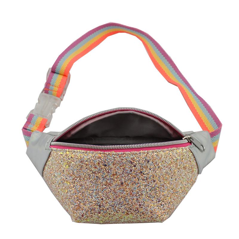 童包,儿童斜跨包,彩虹织带腰包,格利特闪粉料腰包