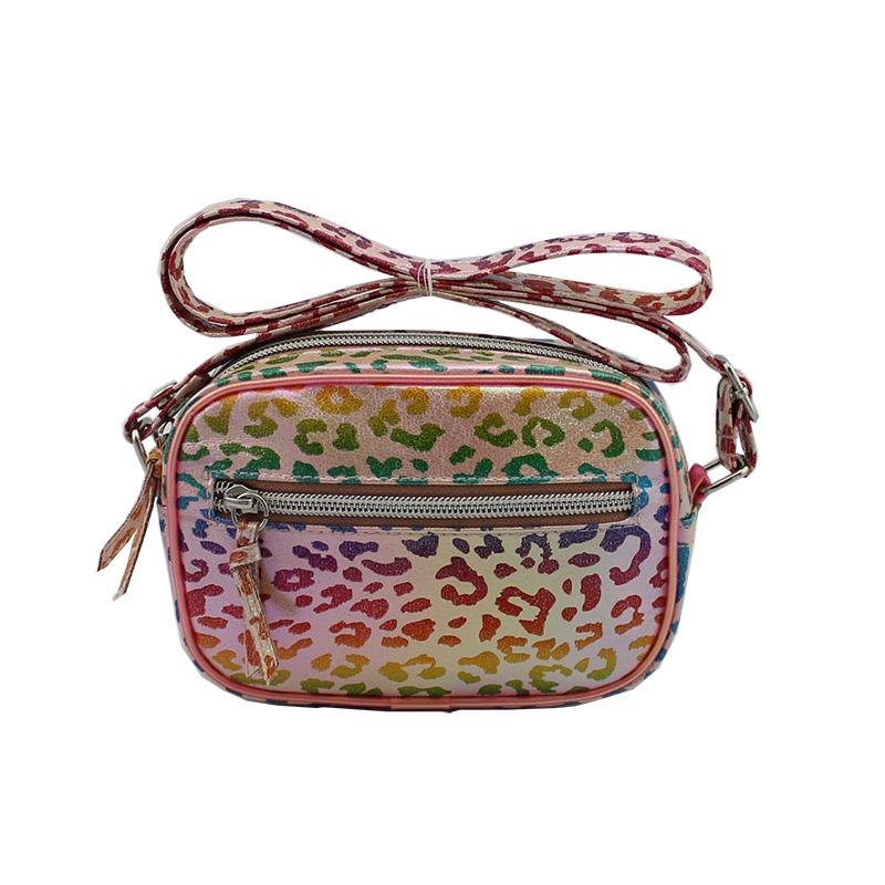 时尚童包,儿童斜挎包,彩色豹纹图案斜挎包