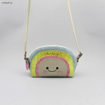 彩虹小斜跨包 童包 笑脸斜挎包