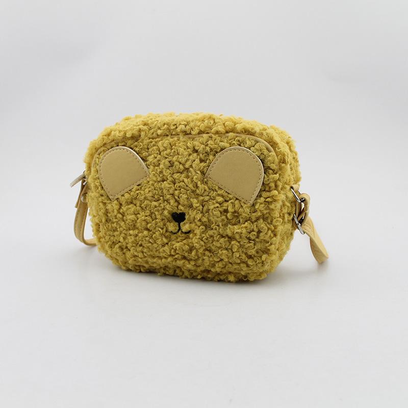 小熊斜跨包 童包 毛毛斜挎包