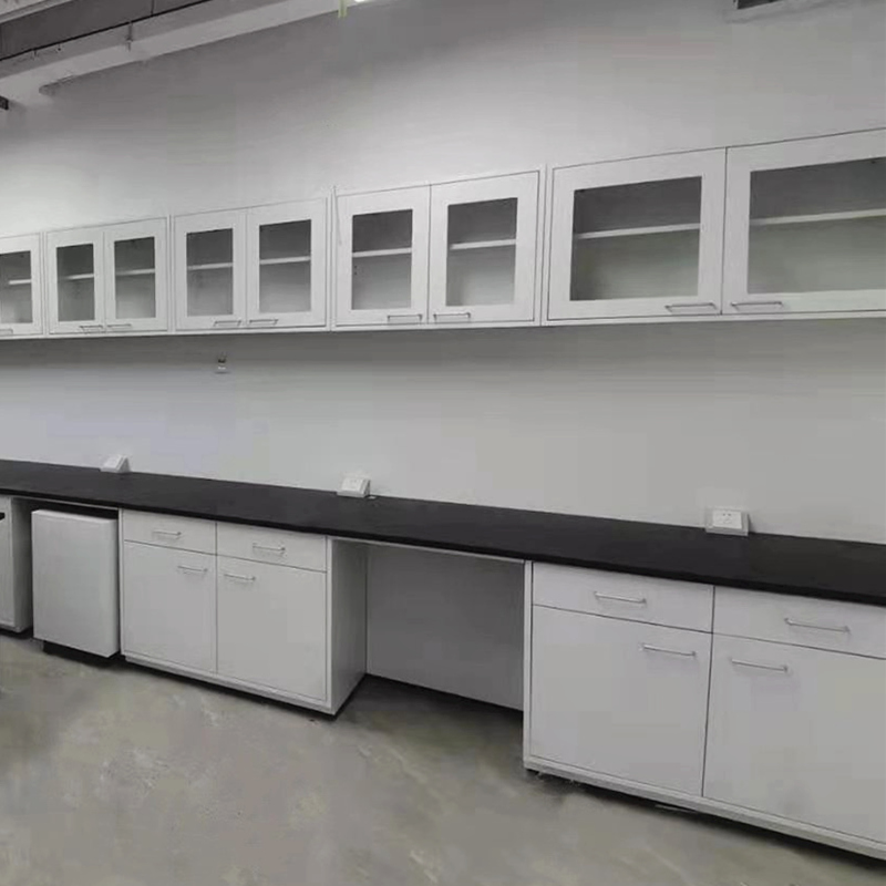 Lab Side Bench, Wall Workbench with Cabinets, School Lab Table For Equipments