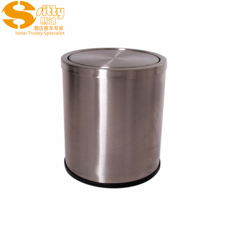砂光小翻转盖不锈钢圆形客房桶