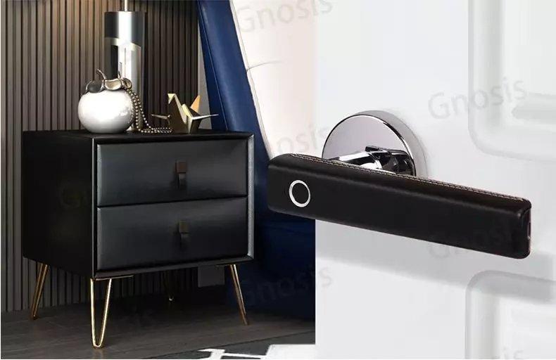 德国原装进口路福芬妮智能360度半导体黑皮指纹锁