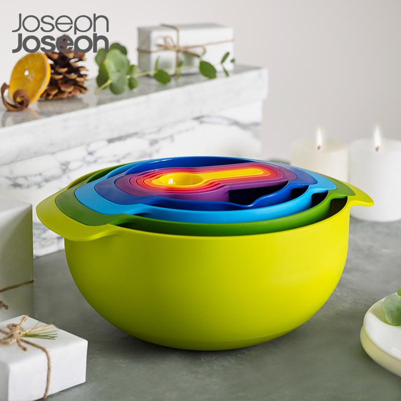 英国Joseph Joseph彩虹盆9件套量勺烘焙碗盆沥水篮多用洗菜盆