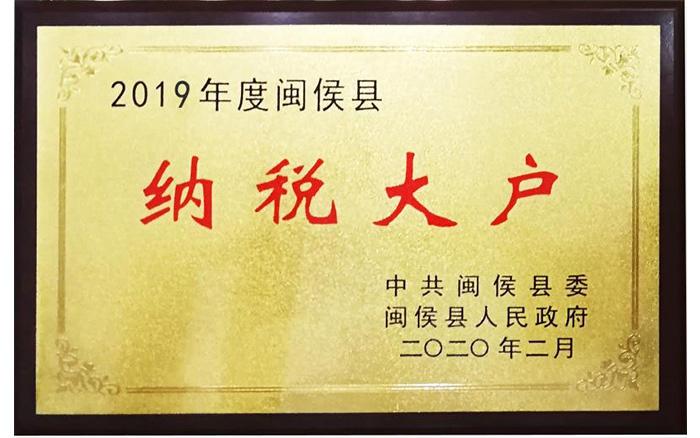 Large taxpayer of Minhou, 2019
