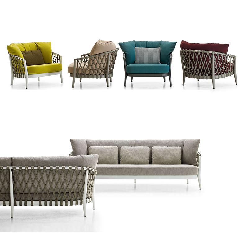 HXL-S052 户外编绳沙发椅子三人位休闲沙发