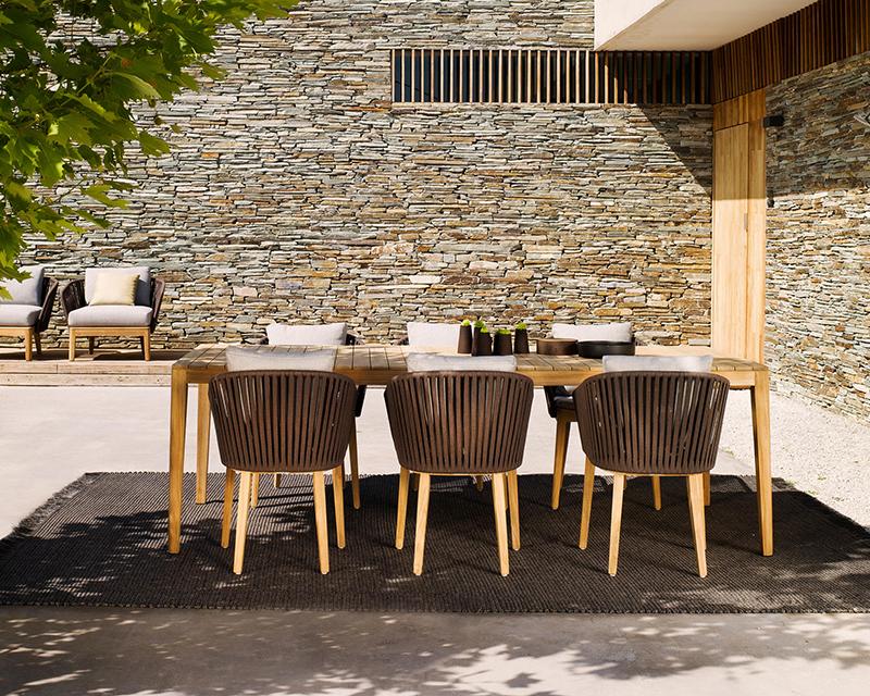 MG-08餐椅桌子套装进口柚木新款编绳餐桌椅套装