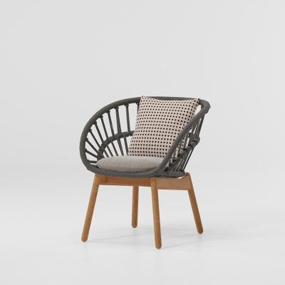 MG-L174餐椅 新款户外柚木编绳椅子