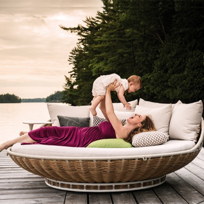 MG-D02daybed Outdoor swing chair rattan new woven hanging swing daybed