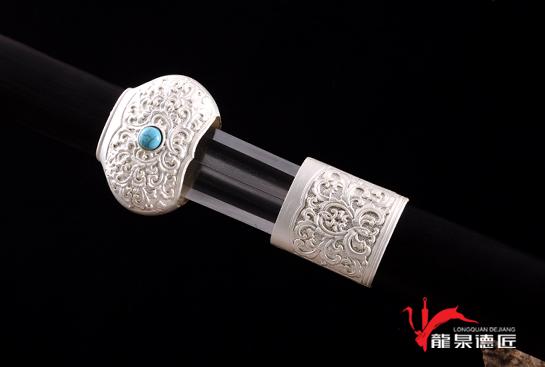 镀银金兰剑-百炼花纹钢