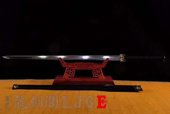 精品鎏金四圣兽汉剑-地肌烧刃